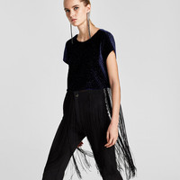 VELVET TOP WITH FRINGE DETAILS