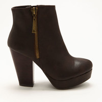 BROWN SIDE BUCKLE BOOTIES