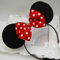 Handmade Minnie Mouse Inspired Felt Mouse Ears by bowsgalorenmore