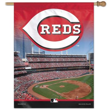 "CINCINNATI REDS GREAT AMERICAN BALL PARK 27""X37"" BANNER FLAG BRAND NEW WINCRAFT"