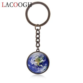 lacoogh New Fashion Trendy Keyrings for Bag Phone Car Nine Planets Key Chains Long Glass Bohemia Keychains for Women Key Holder
