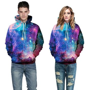 LMFONS Couple Galaxy Pattern Print Loose Top Sweater Pullover Hoodie