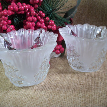 Christmas Tree Pattern Candle Holders Clear and Frosted Glass Scalloped Edge Vintage Collectible Winter Holiday Home Decor
