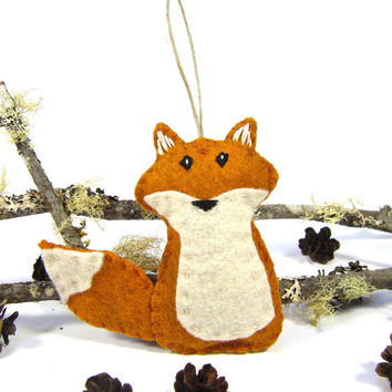 Fox Ornament, Felt Christmas Ornament, ORANGE Fox, Woodland Fox Christmas Ornament, Woodland Animal Ornament