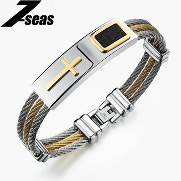 Famous Brand Cross Multi Layer Men Bracelet Full Stainless Steel+ Leather Rope Chain Bangles For Male Silver & Gold Color,JM785