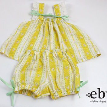 Vintage Newborn Outfit Baby's First Outfit Newborn Photos Baby Outfit 1970s Baby Outift 70s Baby Outfit Yellow Newborn Outfit 3 mo 3 months