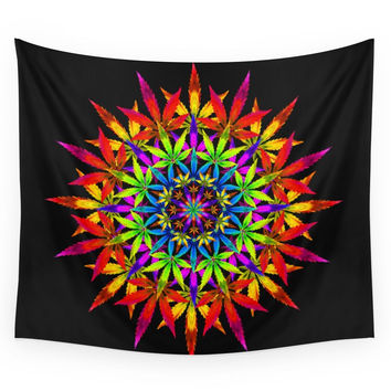 Society6 Stoners Mandala Cannabis Leaf Art Digita Wall Tapestry