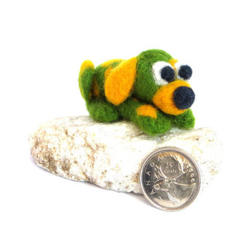OOAK Needle Felted Spotted Dog by Vanessa Turnubull - Green, Yellow, Adorable, Handmade