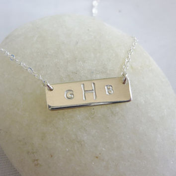 silver initial bar necklace-silver personalized necklace-initial bar necklace-initial necklace-silver initial necklace-nameplate necklace