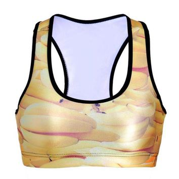 CREYLD1 NEW 0084 Summer Sexy Girl Women yellow banana fruit 3D Prints Padded Push Up Gym Vest Top Chest Running Sport Yoga Bras