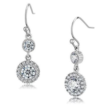 Opulence - Women's Stainless Steel Dangle CZ Halo Earrings