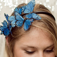 Blue Butterfly Woodland Headband