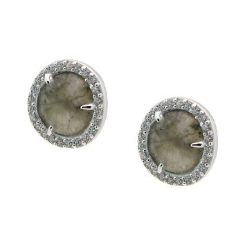 Silver Rhodium Plated Labradorite Studs Earrings  8mm  Cz Around