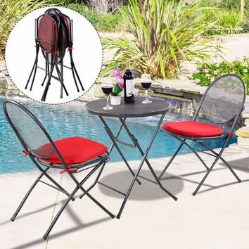 3 PCS Folding Steel Mesh Outdoor Patio Table Chair Garden Backyard Furniture Set HW51792
