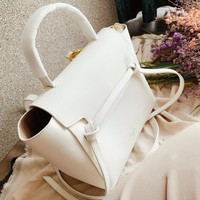 CELINE High Quality Fashionable Women Shopping Leather Handbag Shoulder Bag Crossbody Satchel White