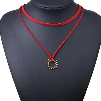 Choker Necklace Outfits  Fashion Women Two Layers Red Tattoo Sun