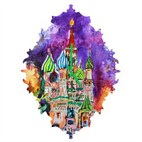 Ginette Fine Art Saint Basils Cathedral Russia Baroque Clock