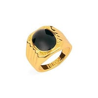 Intionix Shop Vintage Black Men's Single Ring 18K Gold Plated Rings 1pc