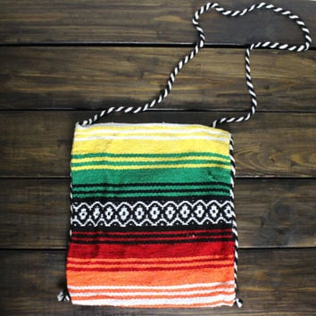 Boho Aztec Bag Mexican Serape Blanket Scarf Bag Shoulder Cross Bohemian Bag Rasta Girls Backpack Axtec Travel Bag Mexican Striped Hand Bag