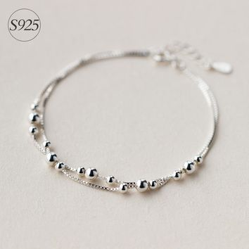 1pc 925 Sterling Silver jewelry 2ROWS Smaller &Bigger Round Ball bEADS chain bracelet Geometric Jewelry adjustable LS127