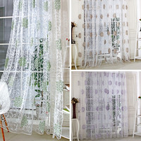 Elegant Green Vintage Hydrangea Tulle Voile Door Window Curtain Hydrangae Flower Pattern Curtains For Living Room