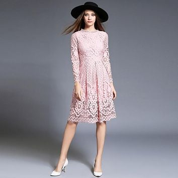 Women Autumn Winter Dress 2016 New Fashion Sexy Hollow Long Sleeves Knee Length Elegant Party Lace Dress Red Black Plus Size 755