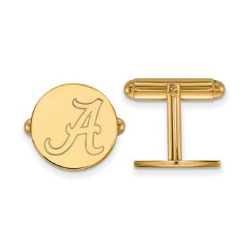 NCAA 14k Gold Plated Silver Univ. of Alabama Cuff Links