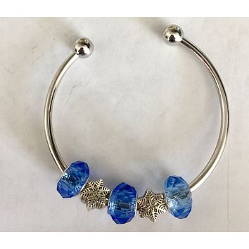 Snowflake and Blue Charms Bangle Bracelet