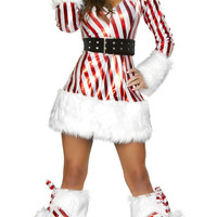 Candy Girl Striped Long Sleeve Hooded Fur Costume Set
