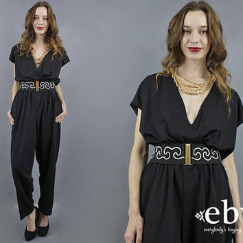 Black Jumpsuit 80s Jumpsuit 1980s Jumpsuit Disco Jumpsuit Minimal Jumpsuit Minimalist Jumpsuit Deep V Jumpsuit Black Jumper 80s Jumper