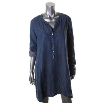 Soft Joie Womens Chambray Medium Wash Shirtdress