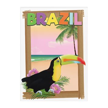 Brazil Toucan beach holiday poster Acrylic Print