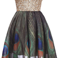 "ROMWE | Golden Sequin ""Bandeau Peacock "" Dress(Arrival on Jan.14th), The Latest Street Fashion"