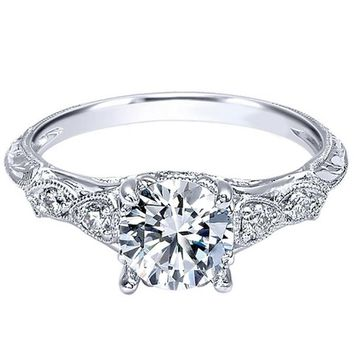 "Gabriel Amavida ""Chelsea"" Milgrain Diamond Engagement Ring"