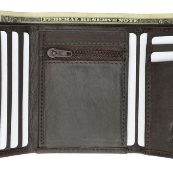 Mens Trifold Lambskin Wallet with Center Zipped Slot for Coins 564 (C)