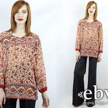 VIntage Indian Tunic Hippie Tunic Cotton Gauze Blouse Vintage 70s Hippie Boho India Babydoll Tunic Top Hippie Top India Top
