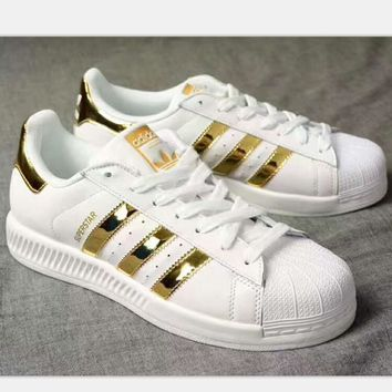ADIDAS Superstar Shell Toe Women Casual Running Sport Shoes Sneakers white(gold reflec
