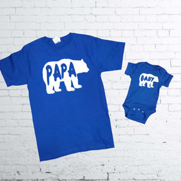 Papa Bear Tshirt. Baby Bear Onesuit. Father and Son T-shirts. Father and Daughter T-shirt. Fathers Day Matching Set. Fathers Day Onesuit