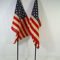 Mid Century Era American Flags Set of 2 on Original Black Enamel Wooden Poles with Gold Enamel Finial & 50 Stars - Naturally Aged Fabric USA
