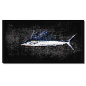 Sailfish Fish Black Canvas Print Picture Frame Gifts Home Decor Nautical Wall Art
