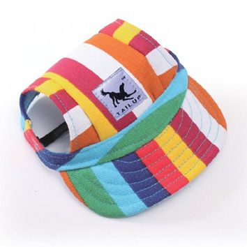 Dog Baseball Hat Summer Canvas Cap Collars Only For Small Pet Dog Outdoor Accessories WE929 P5