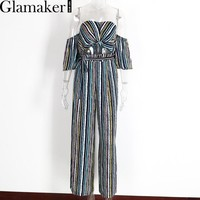 Glamaker Spring off shoulder two piece striped loose pants Sexy slim casual jumpsuit romper Cool summer elegant jumpsuit