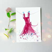 Original painting of Fairy Dress - Small artwork - Pink Art 5x7on paper