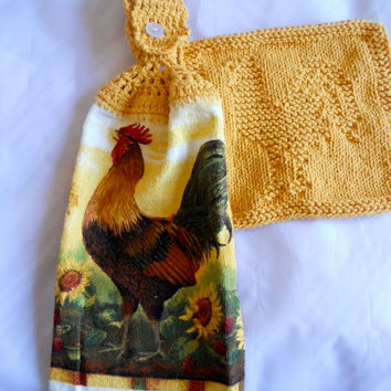 Set of rooster theme  Tea Towel and matching dishcloth, top crochet towel and dishcloth