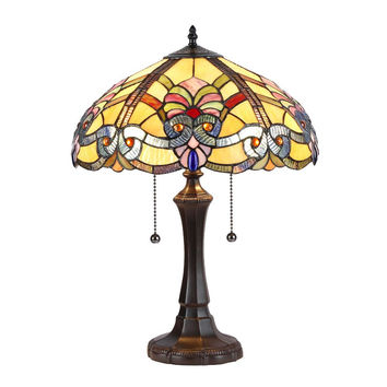 "Marilyn, Tiffany-Style 2 Light Baroque Table Lamp 16"" Shade"