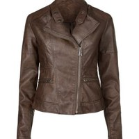 New Look Mobile | Chocolate Brown Leather-Look Zip Pocket Biker Jacket
