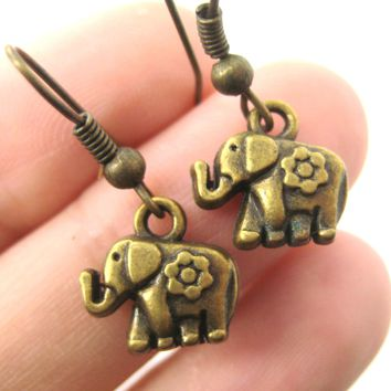 Tiny Elephant Shaped Dangle Earrings in Brass with Floral Detail | DOTOLY