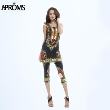 Summer Women Clothing Set Vintage Tribal Print Elastic Sheath Tank Top and Pants 2 Piece Set