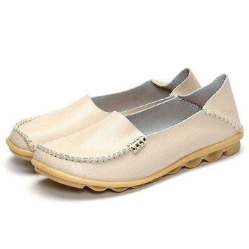 Big Size Soft Leather Pure Color Metal Slip On Comfortable Lazy Loafers