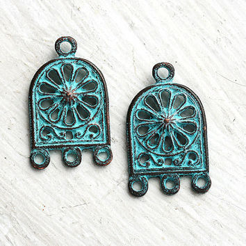 Earrings connectors, green patina on copper, Ornament, Greek beads, charm, 3 loops - 26mm - 2Pc - F154